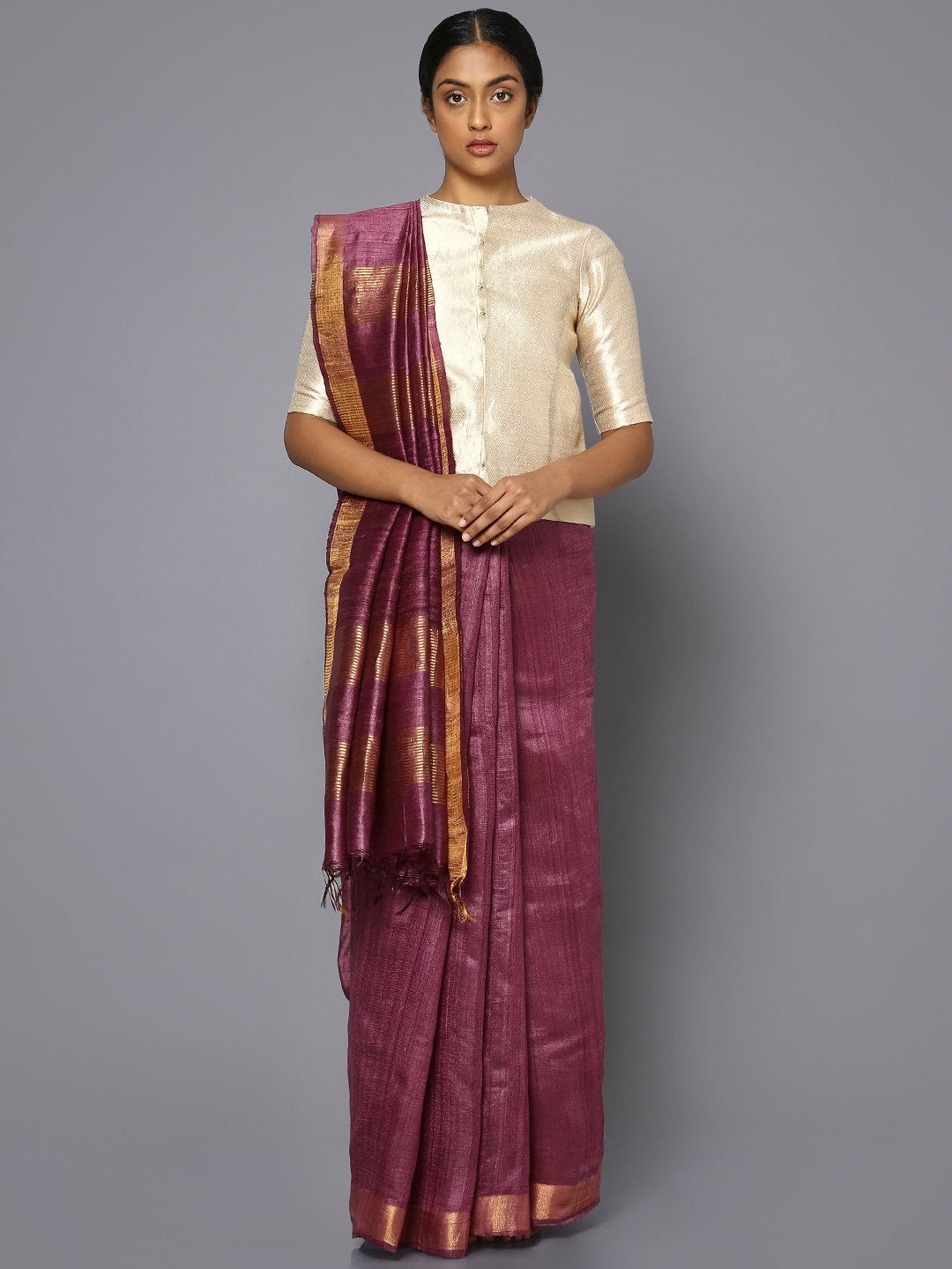 Wine tussar silk saree