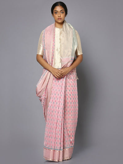 Light pink silk cotton printed maheshwari saree