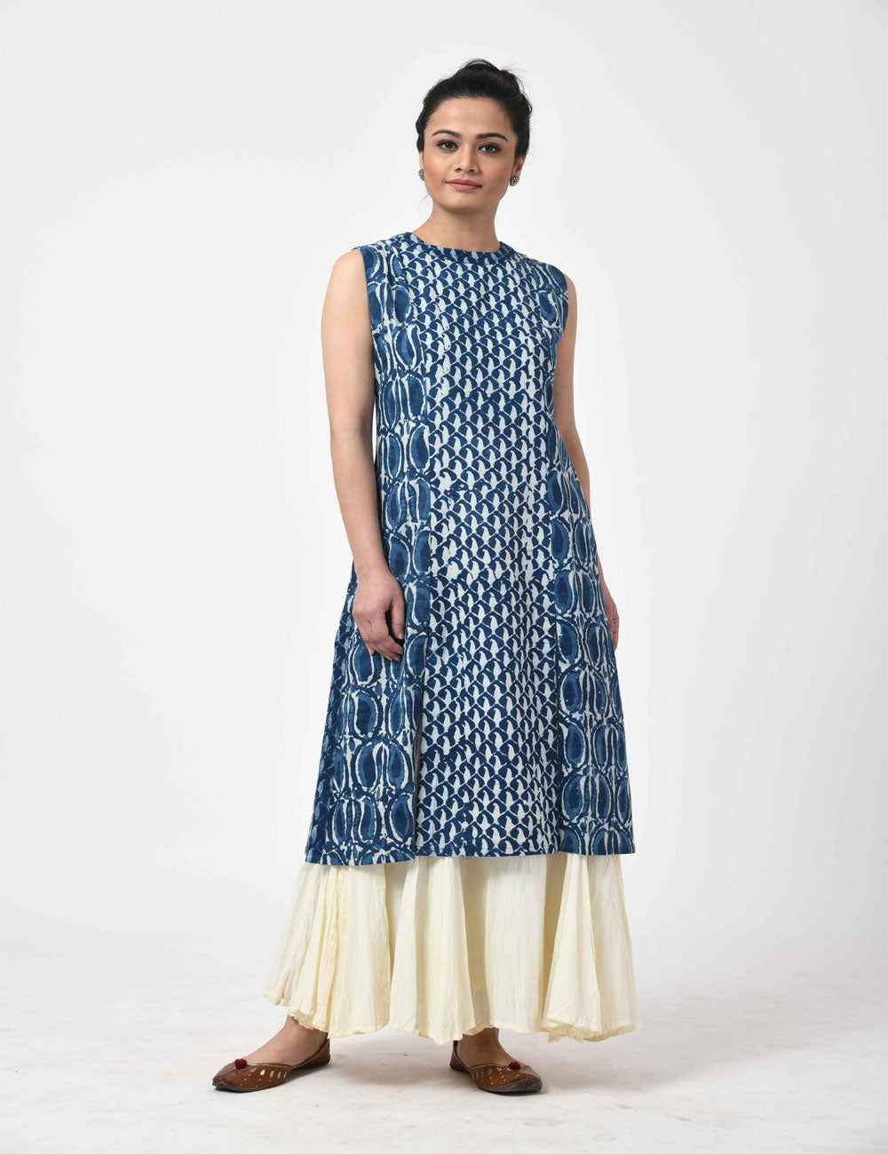 Indigo with Sleeve Long Cotton Slit Kurti