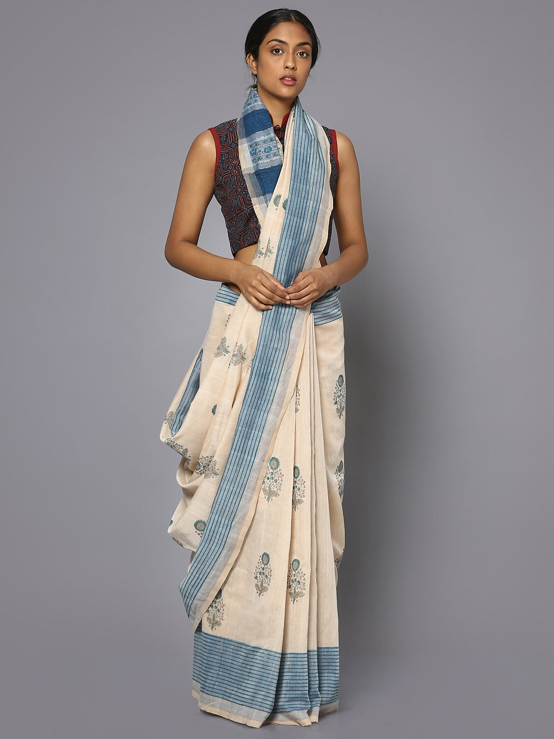 Off white block print cotton saree