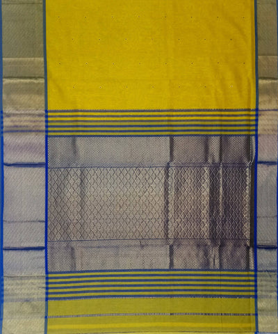 Maheshwari Handloom Yellow Cotton Silk Saree