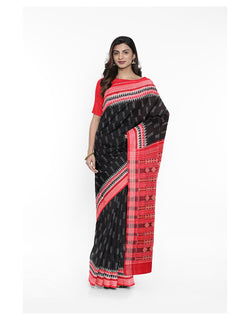 Black and Red Sambalpuri Cotton Ikat Saree