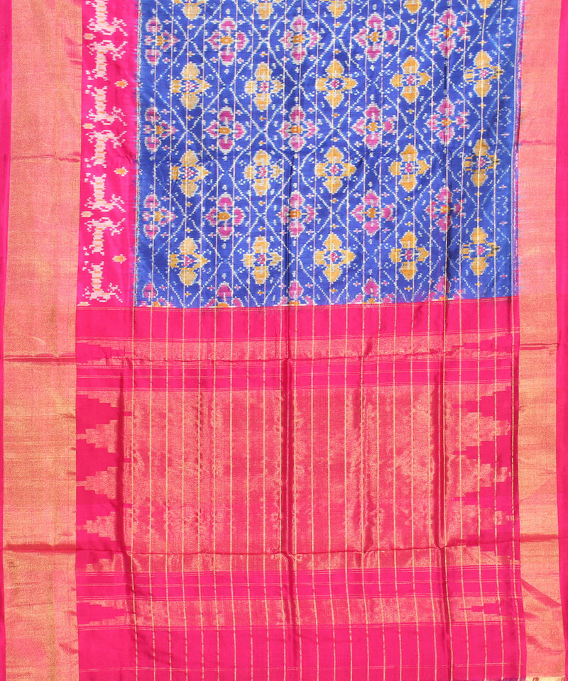 Handloom Deer Motifs Ikkat Blue Silk Saree