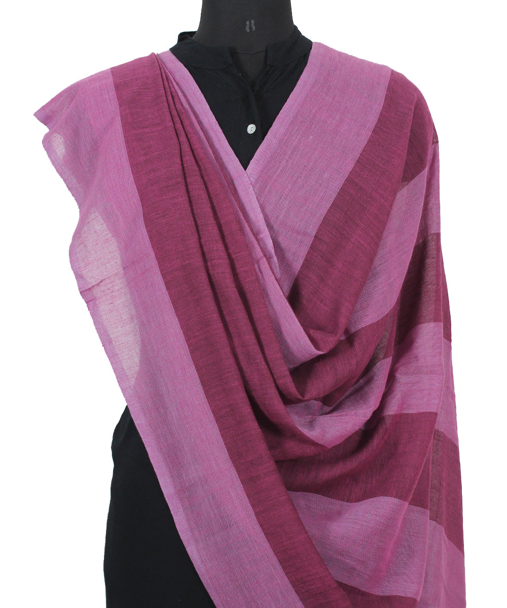 Handwoven Magenta and Purple Cotton Dupatta
