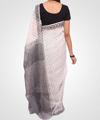 Handwoven Grey Off White Linen Saree