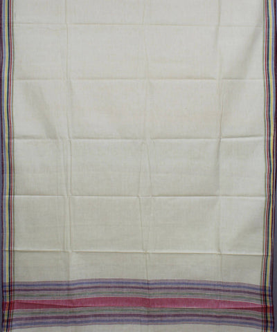 White Handspun Khadi Cotton Handloom Saree