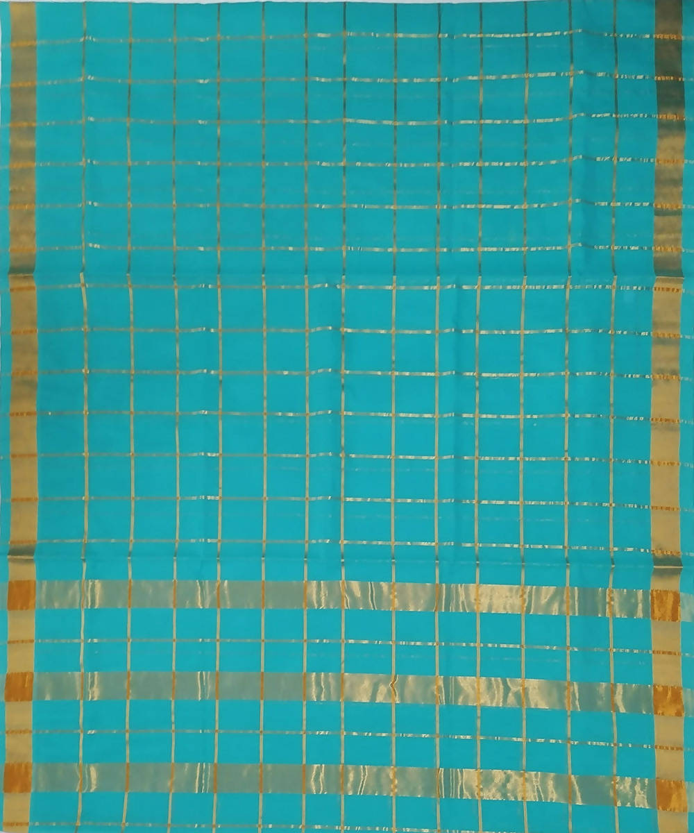 Sky blue stripes handwoven venkatagiri cotton saree