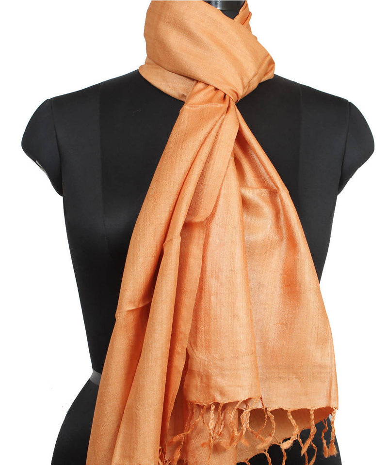 Light Saffron Handloom Tussar Silk Stole