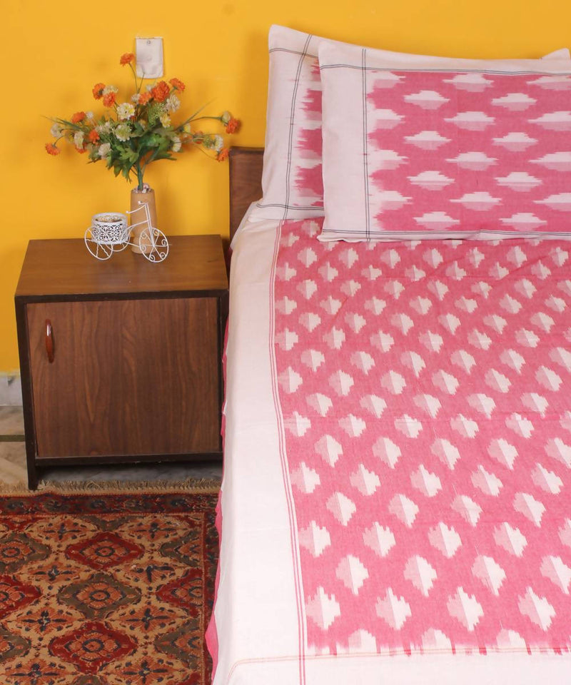 Handloom Ikkat Cotton Bedsheet In Pink