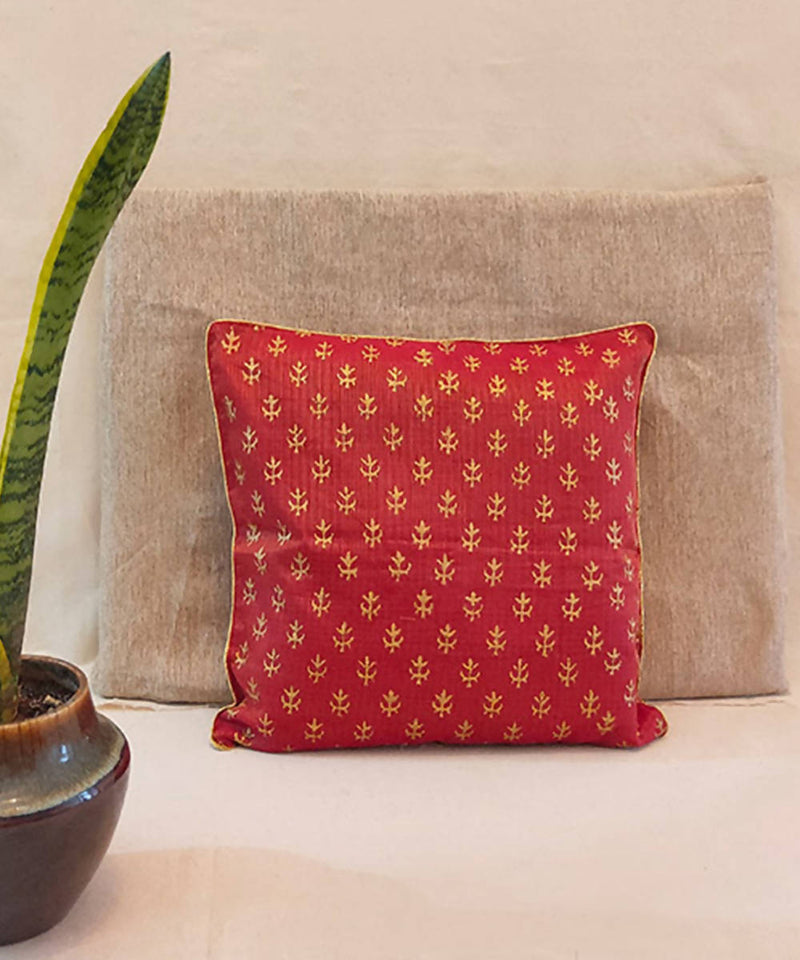 Red handblock printed kota festive cushion cover
