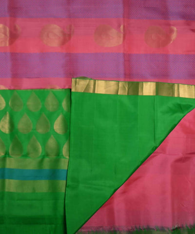Baby Pink Green Handloom Soft Silk Saree