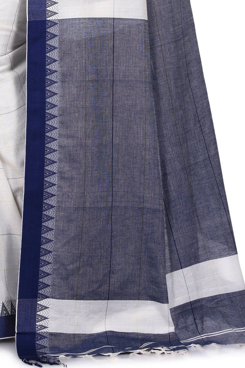 Handwoven Pastel White Cream Bengal Cotton Saree