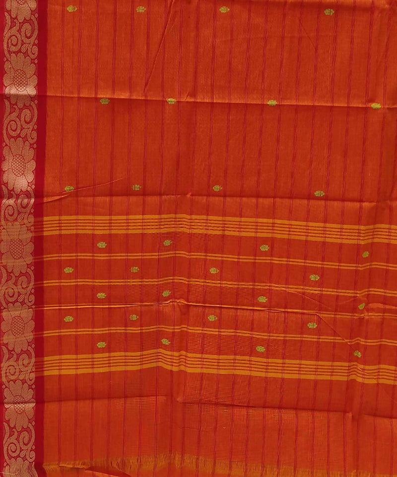 Orange handloom tamil nadu cotton saree