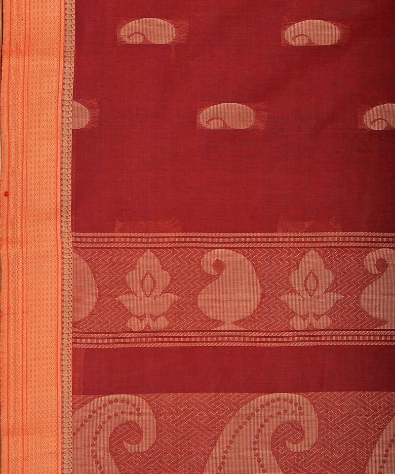 Mangai butta Brown Beige Handloom Kanchi Cotton Saree