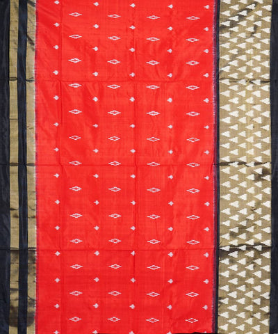 Red black handwoven pochampally silk saree