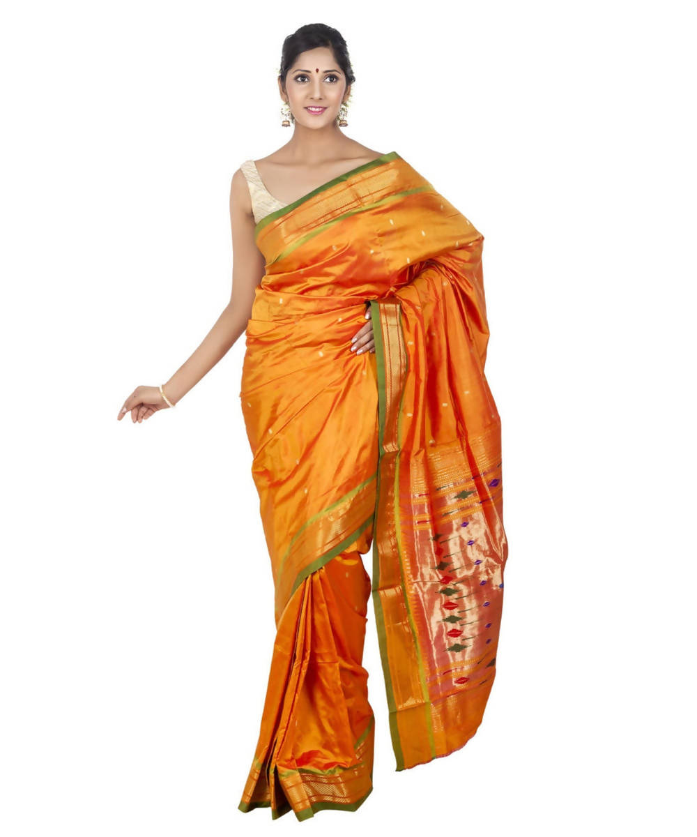 Mustard Yellow Handloom Paithani Silk Saree
