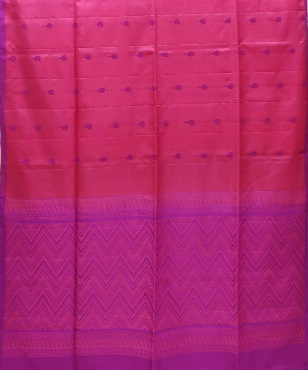 Pink purple Handwoven Soft Silk Saree