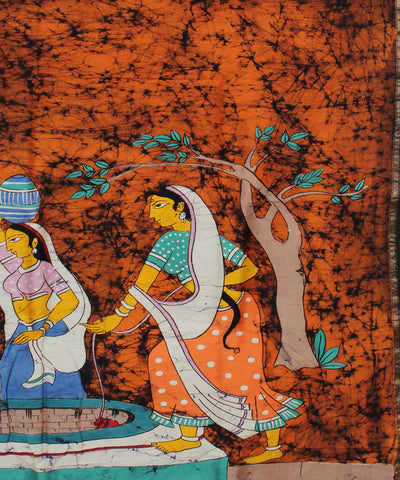 Maheshwari Batik Dark Orange Printed Saree