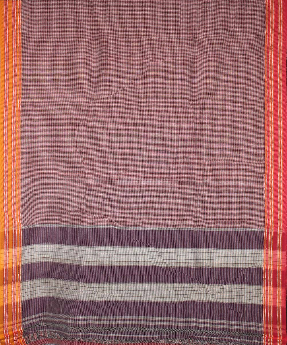 Red white checks patteda anchu cotton handloom saree