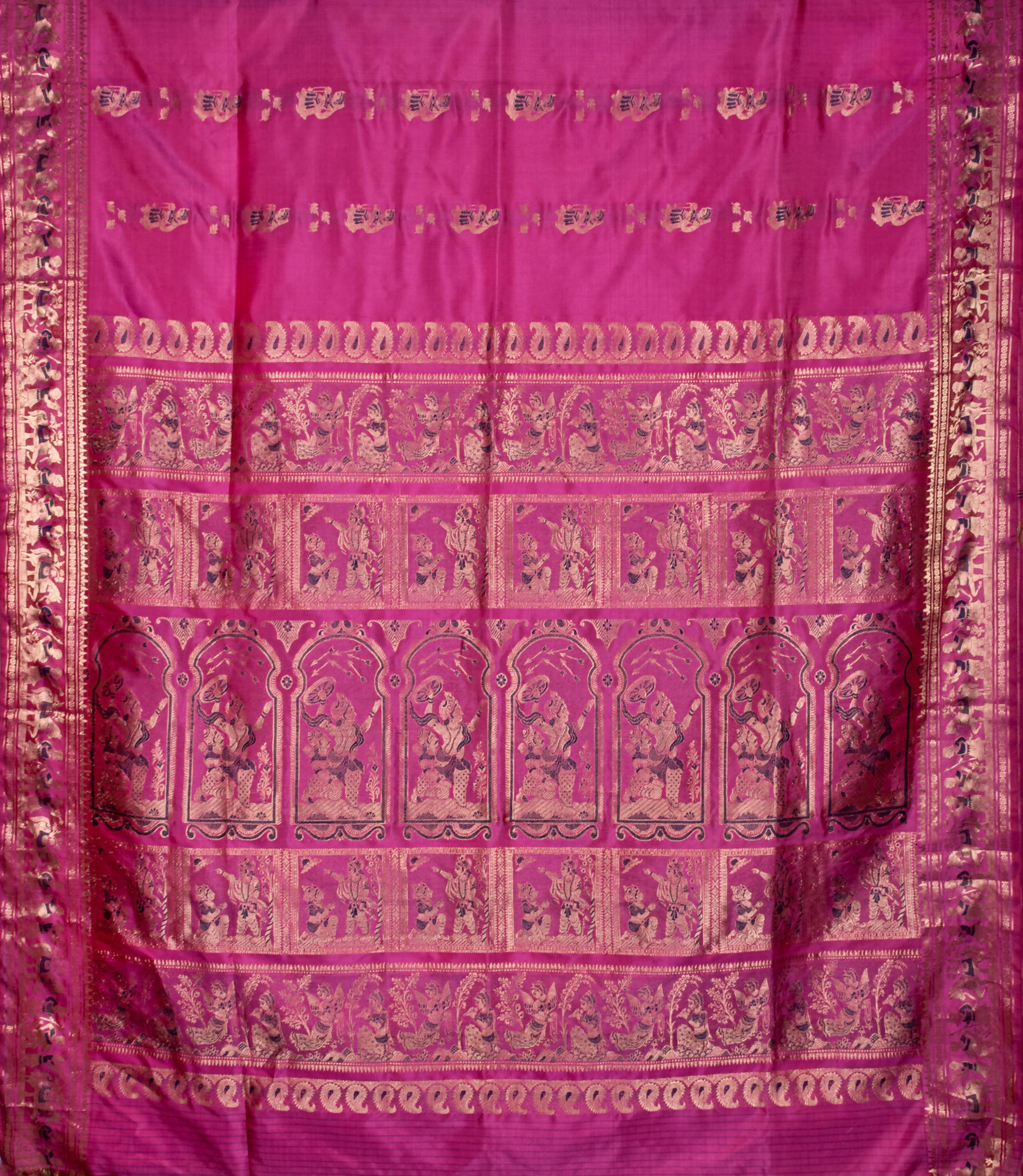 Biswa Bangla Handloom Baluchari Silk Saree - Pink
