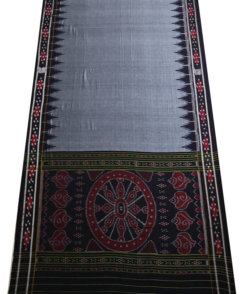Dark grey cotton handloom nuapatna saree