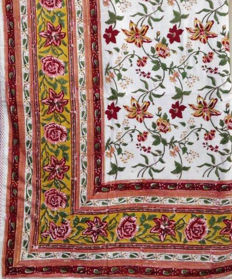 Maroon and Mustard Floral Handblock Printed Cotton Double Dohar