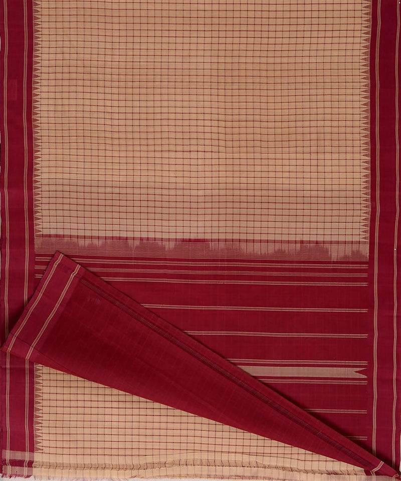 Beige checks handloom kanchi cotton silk saree dark red border