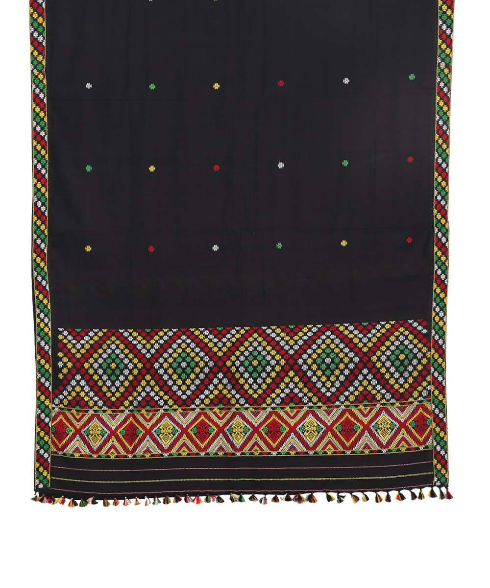 Black handwoven cotton gero assam saree with eri silk motif
