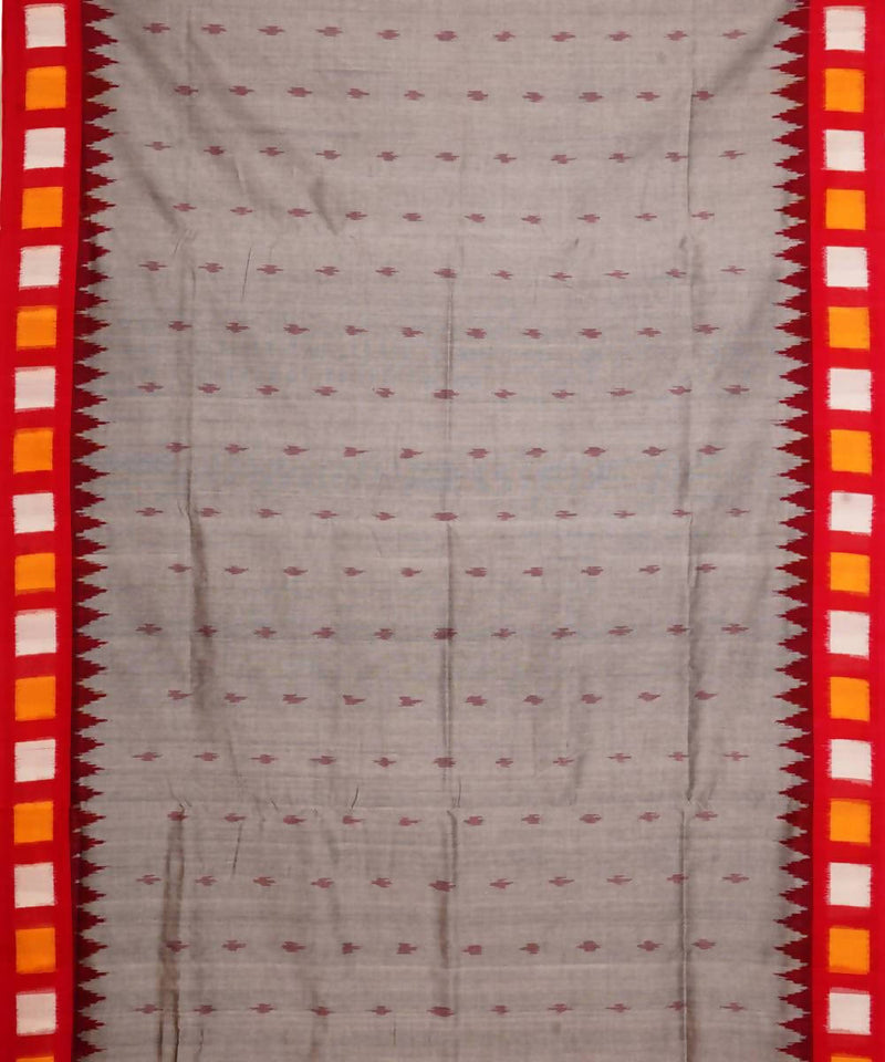 Grey Red Handloom Pochampally Ikat Saree