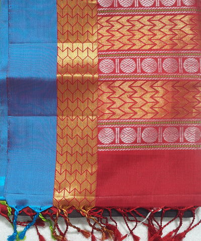 Brown and Red Handloom Soft Silk Saree