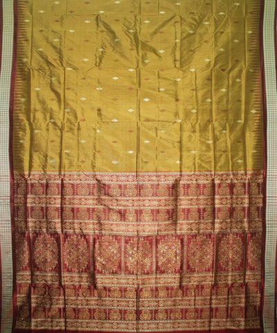 Handwoven Bomkai Silk Saree of Sonepur in Field Drab and Maroon