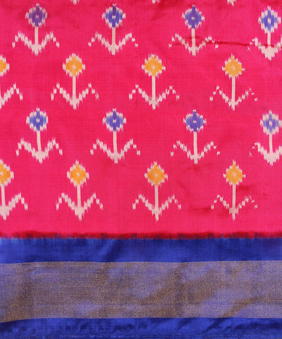 Dark Pink and Blue Handwoven Ikat Rajkot Silk Saree