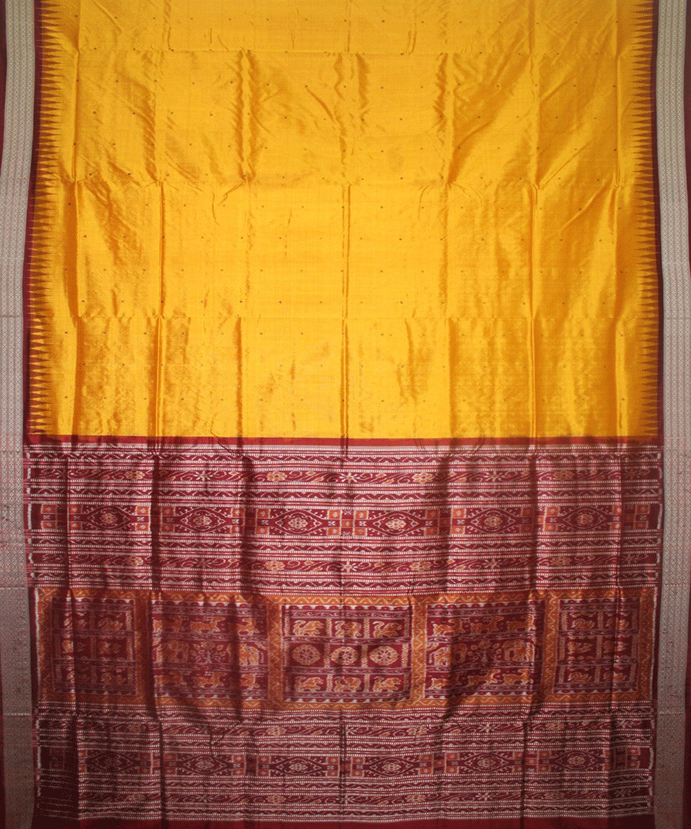 Handwoven Sambalpuri Ikat Silk Saree in Yellow and Maroon