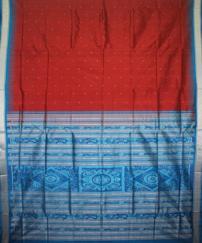 Handwoven Sambalpuri Ikat Silk Saree in Maroon and Blue