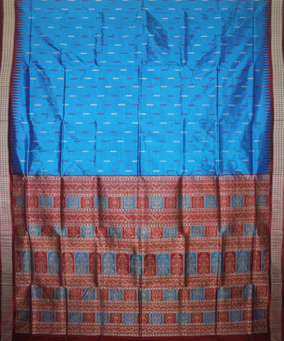 Handwoven Bomkai Silk Saree of Sonepur in Blue and Maroon