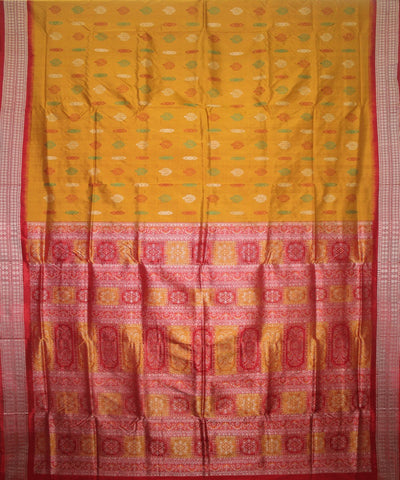 Handwoven Bomkai Silk Saree of Sonepur in Golden and Red