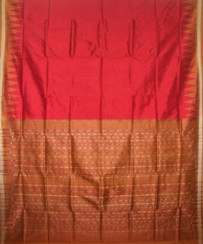 Handwoven Sambalpuri Ikat Silk Saree in Red and Peru