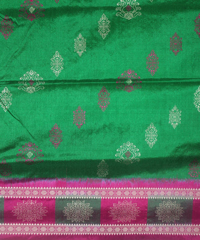 Handwoven Bomkai Silk Saree of Sonepur in Parrot Green and Deep Pink