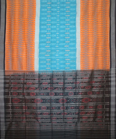 Handwoven Nuapatna Ikat Cotton Saree in Orange and Black