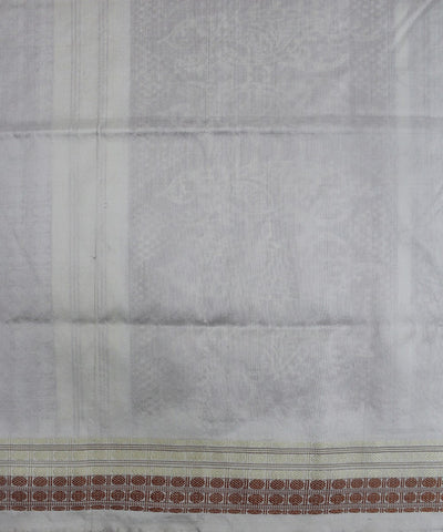 Handwoven Bomkai Silk Saree of Sonepur in Rust and White