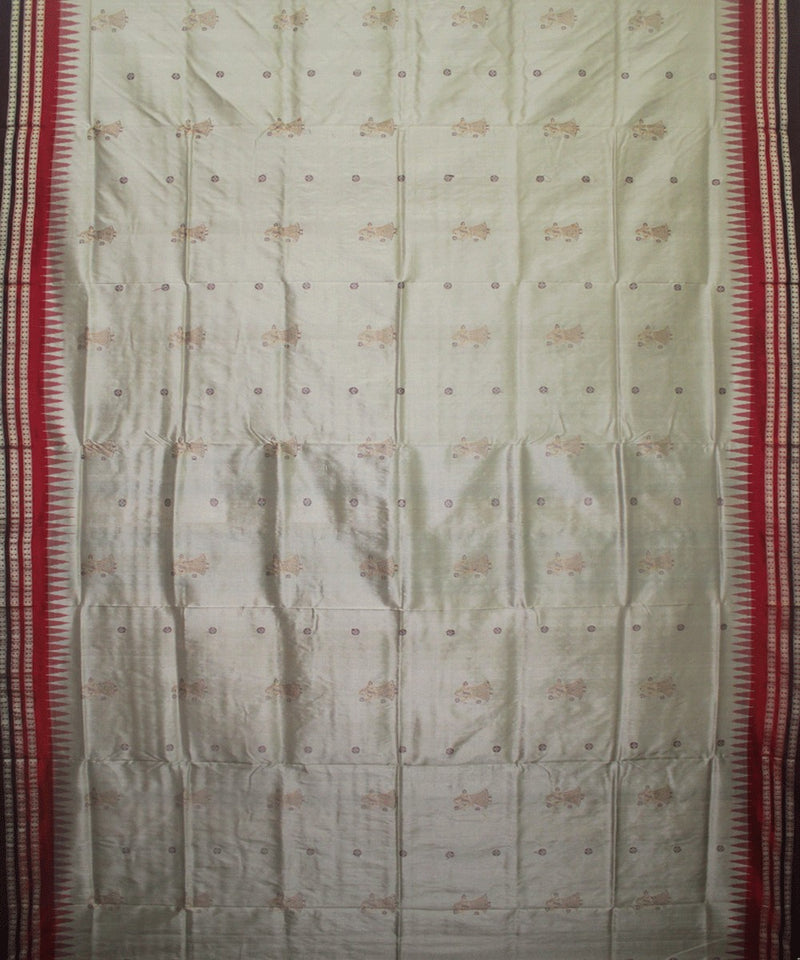 Handwoven Bomkai Silk Saree of Sonepur in Ash Grey and Coffee