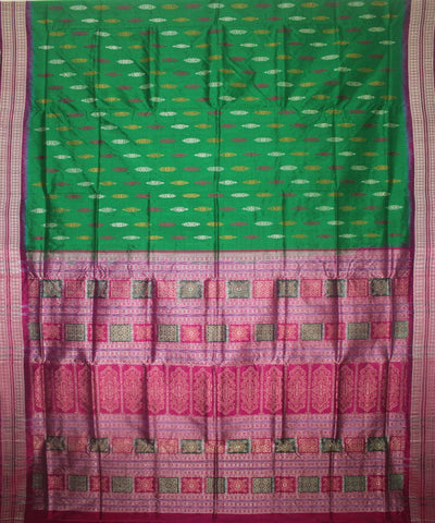 Handwoven Bomkai Silk Saree of Sonepur in Parrot Green and Byzantine