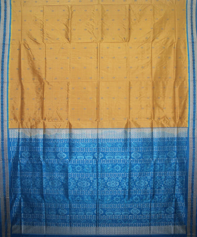Handwoven Sambalpuri Ikat Silk Saree in Golden and Dodger Blue
