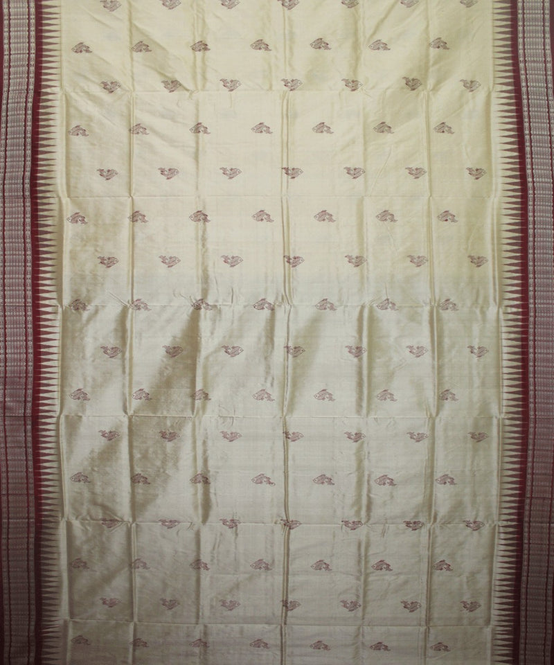 Handwoven Bomkai Silk Saree of Sonepur in Light Cream and Maroon