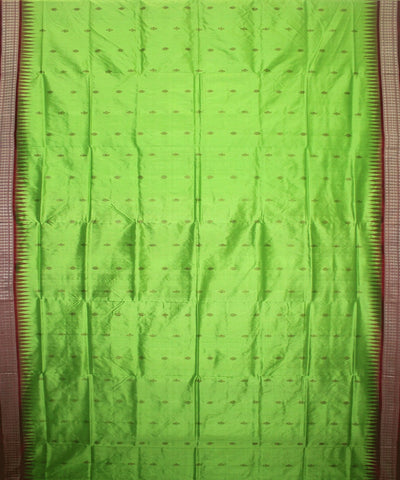 Handwoven Bomkai Silk Saree of Sonepur in Electric Green and Maroon