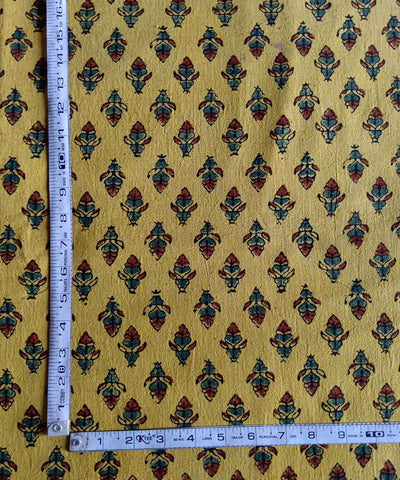 yellow ajrakh handblock print handspun handwoven cotton kurta fabric