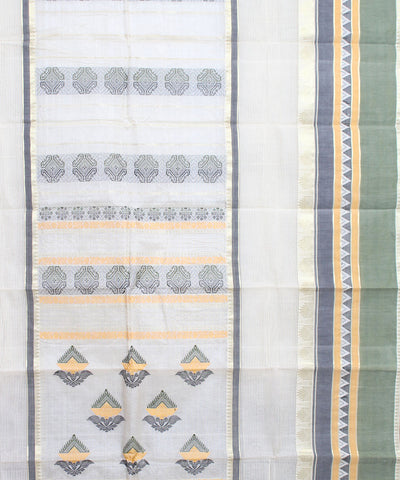 White Green Bengal Handwoven Jamdani Saree