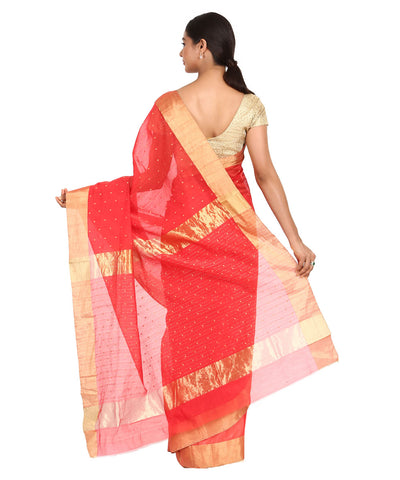 Cherry Red Handwoven Chanderi Sico Saree
