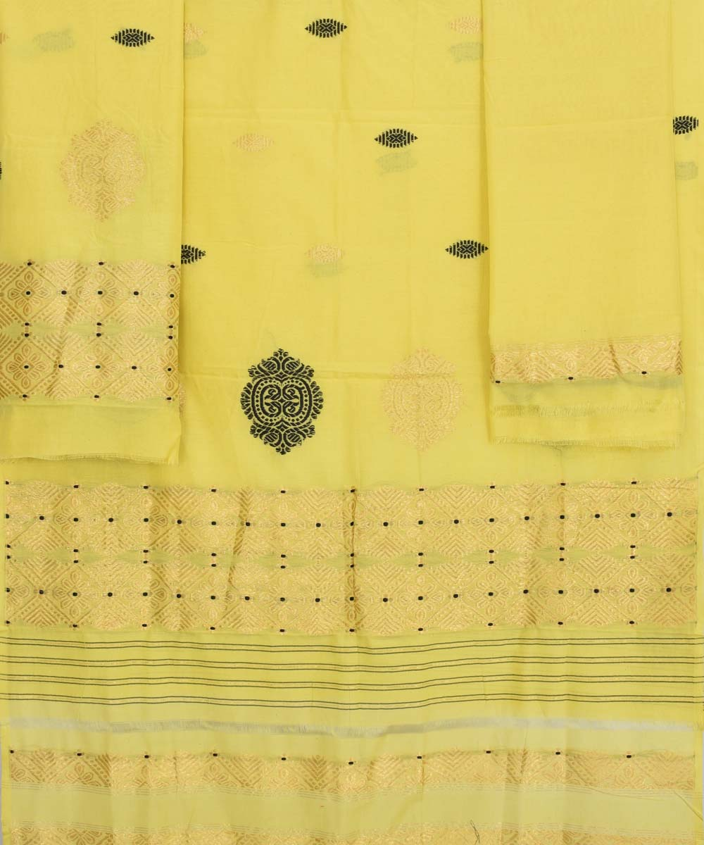 Handwoven Cotton Yellow Mekhela Chador