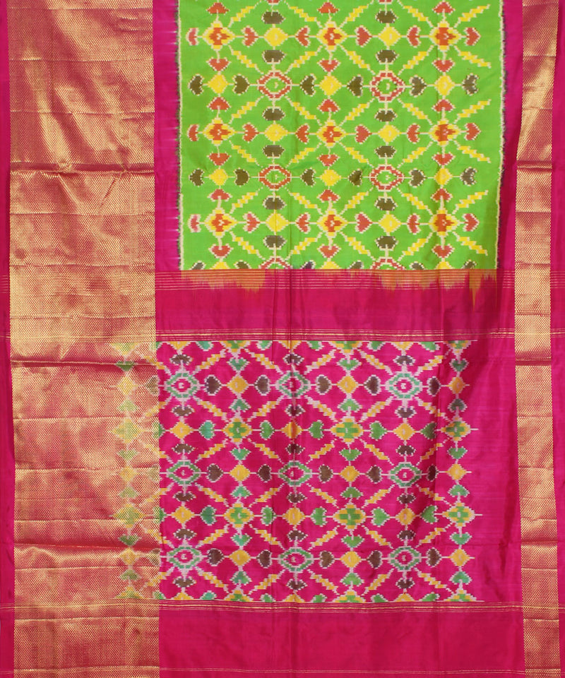 Pan patola green handloom ikat silk pochampally saree